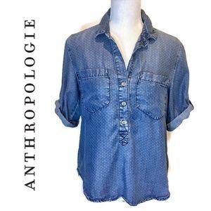 Anthropologie Cloth & Stone Polka Dot Chambray Top